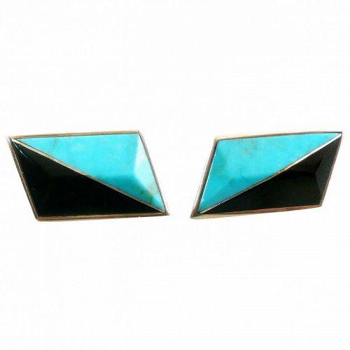 BIG Vintage 1970s Jack Woolsey Sterling Turquoise Onyx Modern EARRINGS