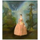 ORIGINAL Signed FLORINE 1958 Romantic Naive Oil on Canvas PAINTING