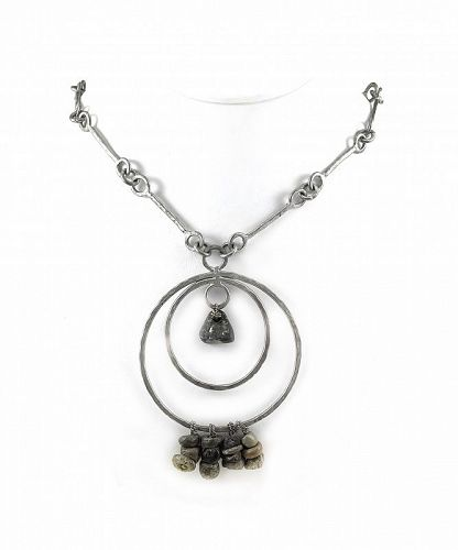HUGE 1970s Dona Mexico Handmade Silvered Bronze NECKLACE