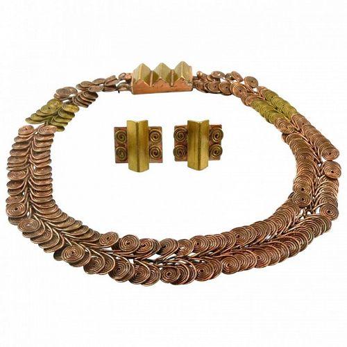 SUPERB 1940s Loyola Fourtane Copper & Brass Necklace & Earrings SET