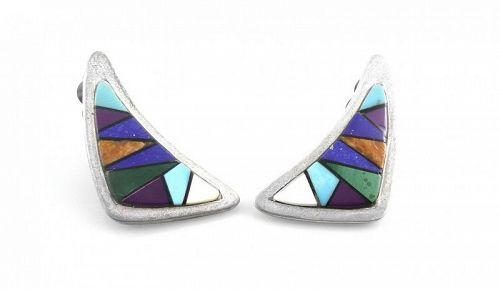 BIG 1980s Handmade Native Tribal Sterling & Stone Inlay EARRINGS