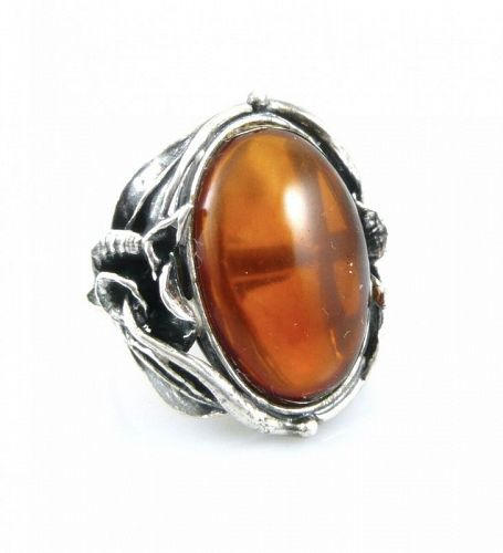 BIG 1980s Signed Poland Sterling Silver & Amber Cocktail RING - Size 9