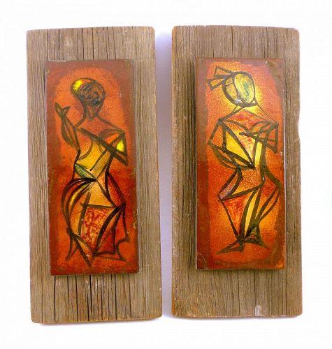 SUPERB Pair 1950s Richard LOVING Copper Enamel Modernist ARTWORKS
