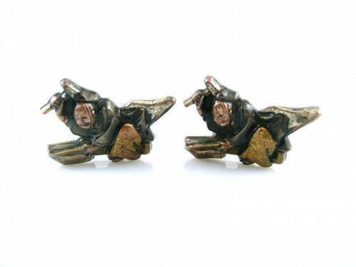 HUGE 1930s Japanese Menuki Mixed Metals on Sterling Smith CUFFLINKS