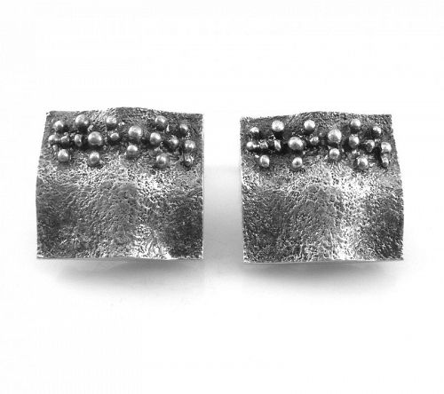 BIG Pair 1970s Signed Sweden 830 Silver Abstract Modernist CUFFLINKS