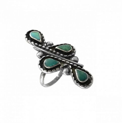BIG 1960s Native American Old Pawn Sterling & Turquoise Cocktail RING