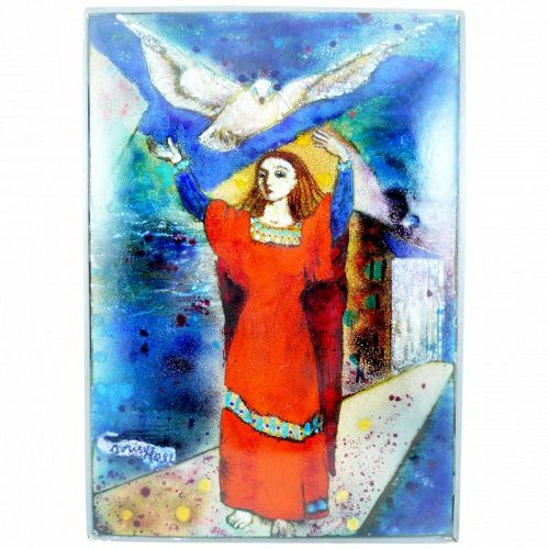 RARE 1940s 50s Doris Hall Copper Enamel Surrealist Magical ARTWORK