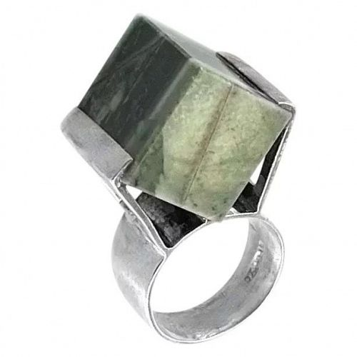HUGE 1970s Maxwell Collins UK Sterling & Stone Cocktail RING