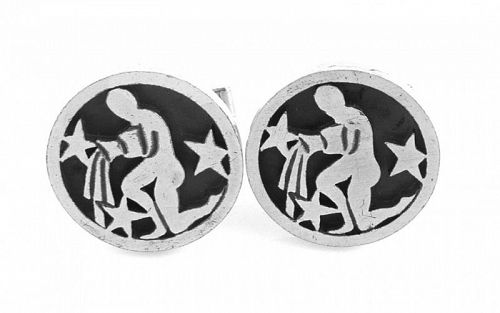 BIG 1960s Rotter Handmade Sterling Astrology Aquarius CUFFLINKS