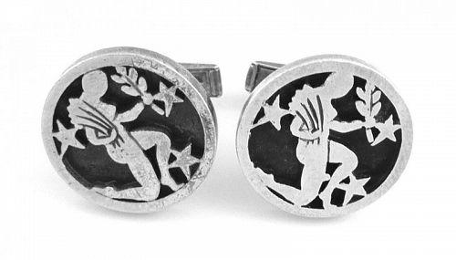 BIG 1960s Rotter Handmade Sterling Astrology Virgo CUFFLINKS