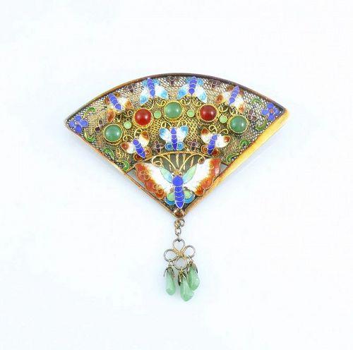 BIG 1930s 40s Chinese Export Silver Enamel Jade Fan Design BROOCH
