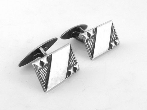 STRIKING Vintage 1940s SIGNED Russian 875 Silver Geometric CUFFLINKS
