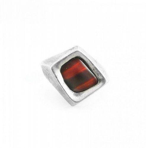 BIG 1970s Handmade Sterling & Red Tigereye Modernist RING - Sz 9.5 US