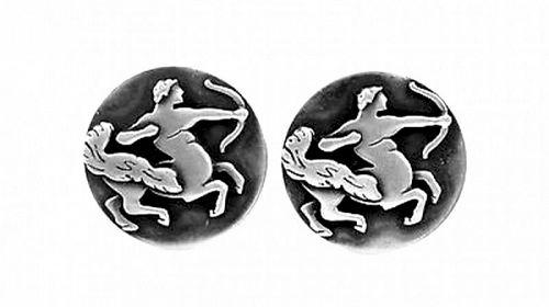 RARE 1950s Edward Krokker Sterling SAGITTARIUS Zodiac CUFFLINKS
