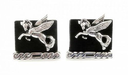BIG 1950s SWANK Handmade Sterling & Ebony Pegasus CUFFLINKS