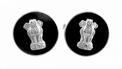 UNIQUE 1950s Handmade Sterling & Enamel Heraldic Three Lions CUFFLINKS