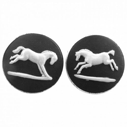 GORGEOUS 1970s Wedgewood England Sterling Horses CUFFLINKS