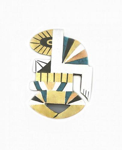 SUPERB 1950s Tono Sterling & Piedra Negra Mexican Modernist BROOCH