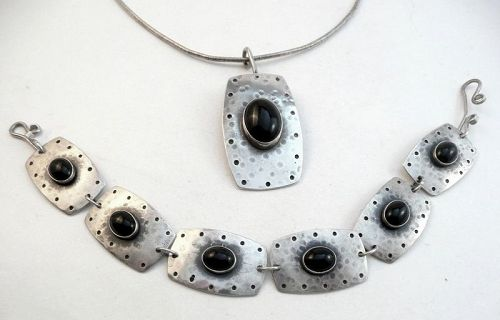 BIG 1980s SIGNED Handmade Sterling and Onyx Necklace & Bracelet SET