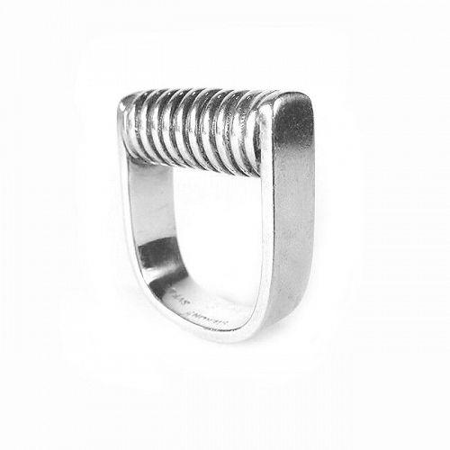 SUPERB Svea Juen Austria Handmade Sterling Modernist RING - Size 5