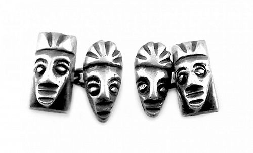 RARE 1930s Signed TA Mexico Sterling pre Columbian Mask CUFFLINKS