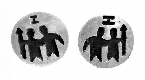 BIG 1970s Handmade Sterling Mexico Zodiac Gemini Modernist CUFFLINKS