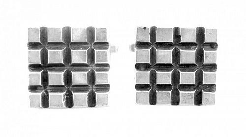 STRIKING 1970s SIGNED Mexico Sterling Geometric Modernist CUFFLINKS