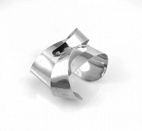 HUGE 1970s Handmade Silver Sculptural Modernist Cuff BRACELET