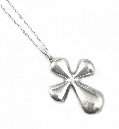 BIG 1960s 70s Signed Italy Handmade Sterling Modernist Cross NECKLACE