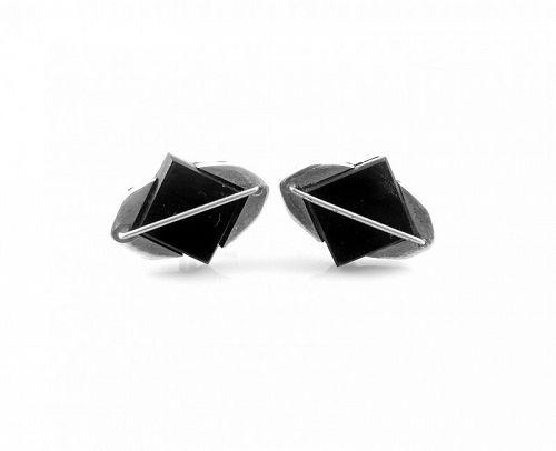 BIG 1950s BETO 950 Sterling & Obsidian Mexican Modernist CUFFLINKS