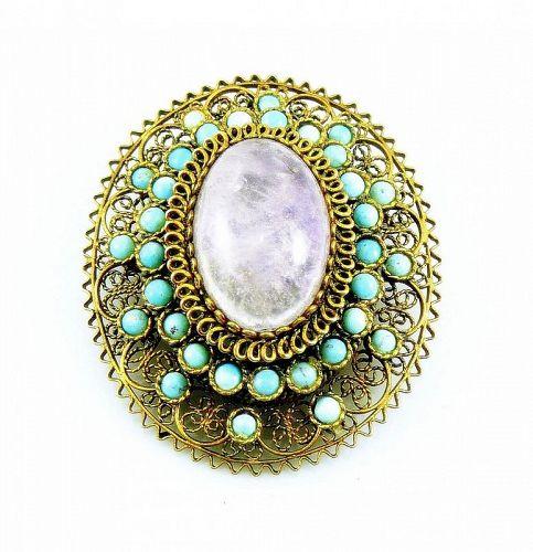 BIG 1930s Gilt Sterling Filigree Amethyst & Turquoise PIN PENDANT