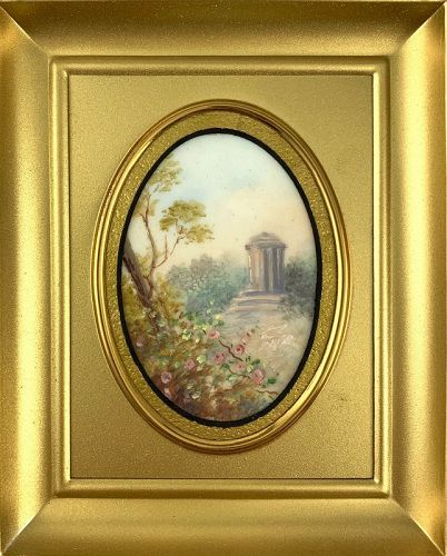 EXQUISITE 1930s Oil Painting on Celluloid English Garden ARTWORK