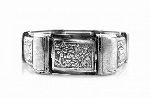 ART DECO 1930s Germany Handmade 835 Silver Floral BRACELET