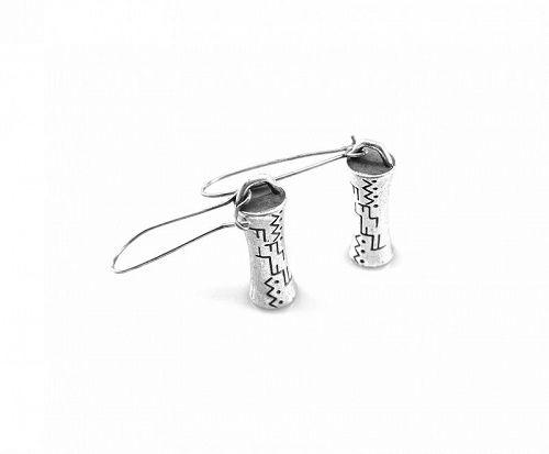 HUGE Vintage 1960s 70s Etched Silver Modernist Design Pierced EARRINGS