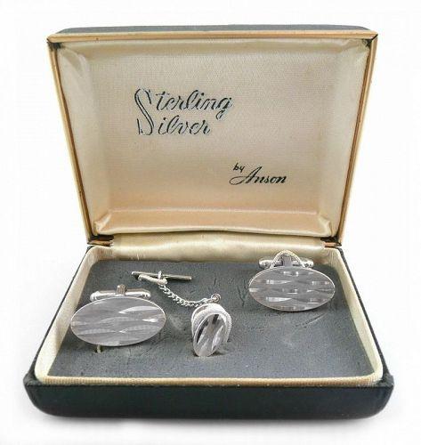 BIG 1960s ANSON Sterling Modernist Cufflinks SET in Original Box