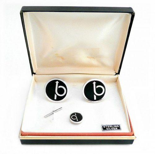 BIG 1960s La Mode Sterling & Enamel Cufflinks SET in Original Box