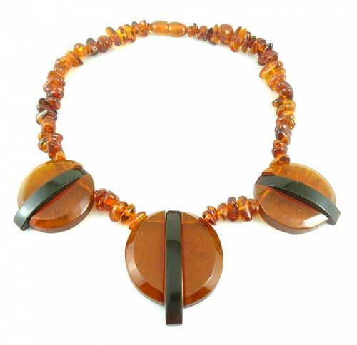 BIG 1970s Art Deco Revival Handmade Amber Geometric NECKLACE