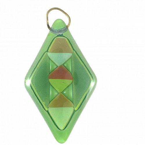 HUGE 1950s Higgins Glass Handmade Geometric Modernist PENDANT