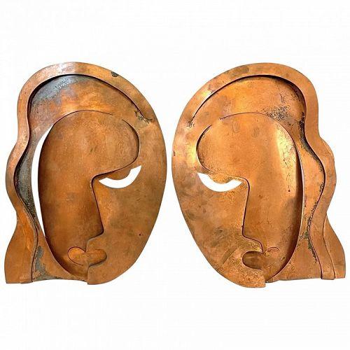 RARE 1940s Rebajes Handmade Copper Veronica Lake Wall PLAQUES