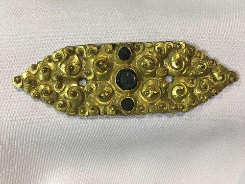 Chinese Jewel Gilded Bronze black stone inlaid