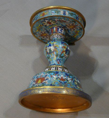 Candlestick in cloisonné enamels Kien-Long Mark