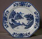 Chinese porcelain dish decorated in cobalt blue underglaze.Landscape.