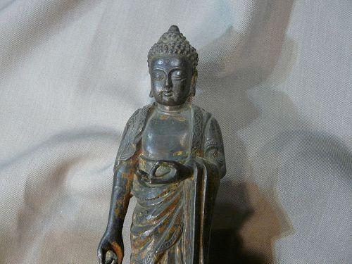 Standing Bouddha Gilt Bronze laquered