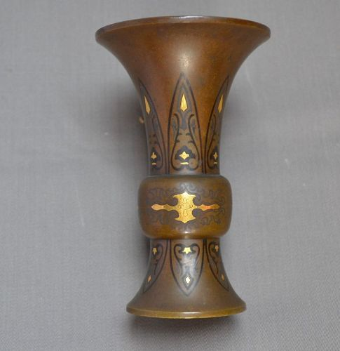 Bronze vase inlaid with gold,silver and shakudo.Japan Meiji