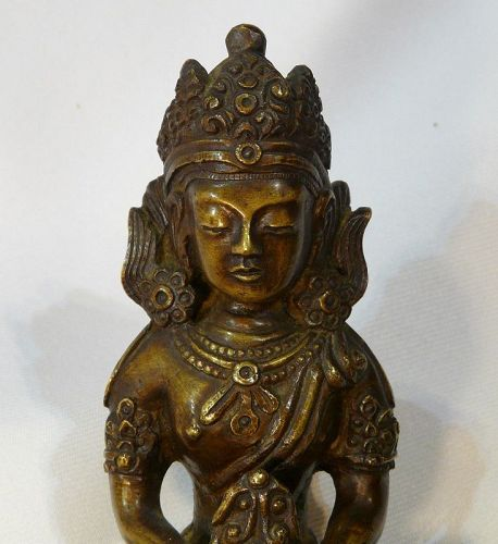 Cast bronze buddha seated on stand Qing period