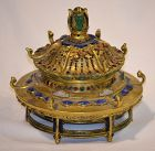 Gilded bronze Pagoda roof inlaid with glass paste