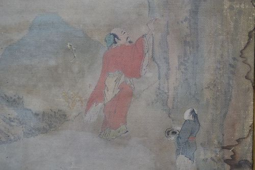 Painting Chinese water colour on woven paper.
