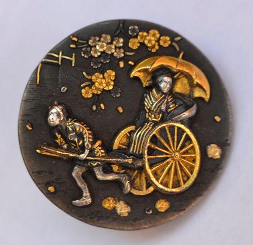 Pair of mixed metals buttons. Meiji.