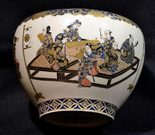 Satzuma bowl. Dancers and musicians