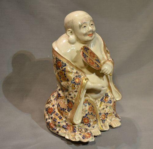 Statuette of Hotei in fine earthenware satzuma